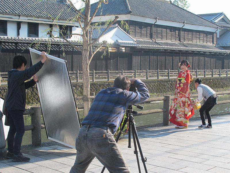 蔵の街でロケ撮影